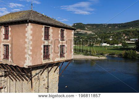 River house on river Tarn in Millau. Millau Midi-Pyrenees France.