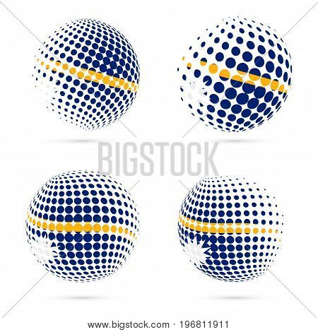 Nauru Halftone Flag Set Patriotic Vector Design. 3D Halftone Sphere In Nauru National Flag Colors Is