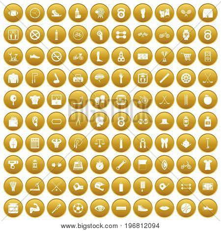 100 kettlebell icons set in gold circle isolated on white vector illustration