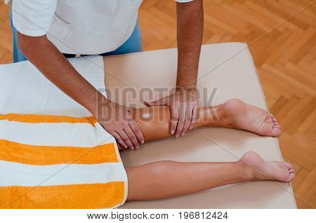 Leg Massage, Top View, Color Image, Horizontal Image