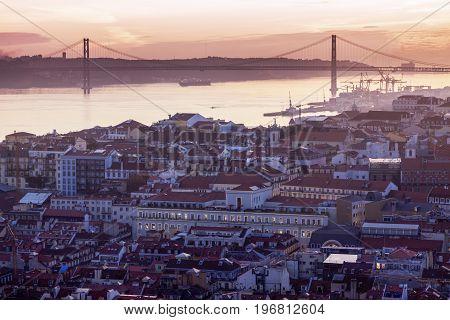 25th of April Bridge in Lisbon . Lisbon Portugal.