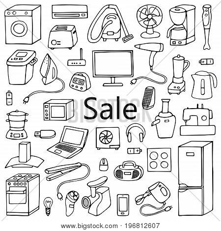 Sale household appliances hand drawn collection. Pattern of doodle equipment. Coloring page.