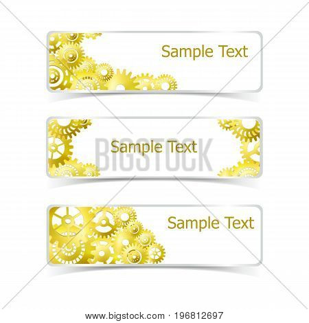 Industrial realistic horizontal banners set with golden gear isolated vector illustration