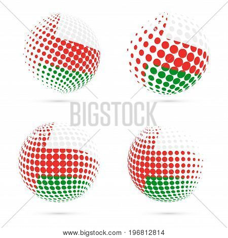 Oman Halftone Flag Set Patriotic Vector Design. 3D Halftone Sphere In Oman National Flag Colors Isol