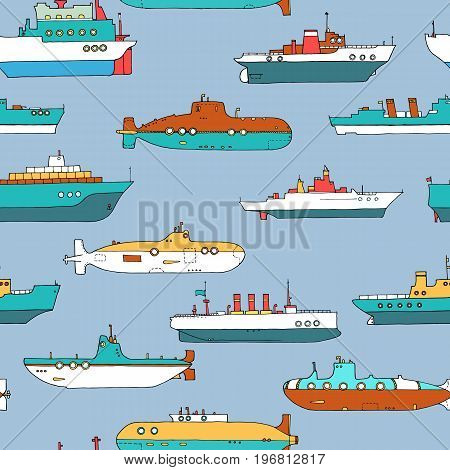 vector seamless pattern with cartoon submarines and ships, hand drawn illustration
