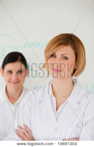 Attractive Women In Front Of A White Board