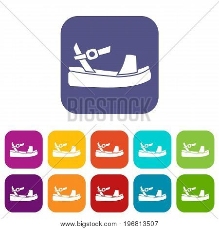 Women sandale icons set vector illustration in flat style in colors red, blue, green, and other