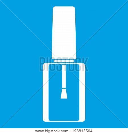 Nail polish bottle icon white isolated on blue background vector illustration