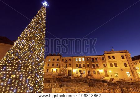 Christmas tree on Fara Square in Lublin. Lublin Lubelskie Poland.