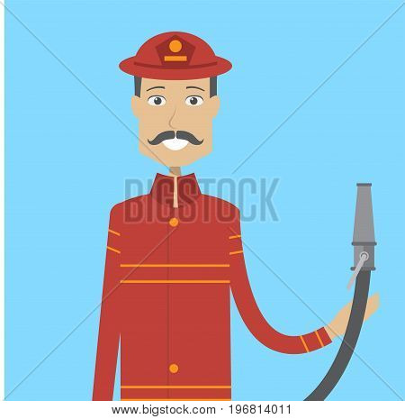 Firefighter Character Male | set of vector character illustration use for human, profession, business, marketing and much more.The set can be used for several purposes like: websites, print templates, presentation templates, and promotional materials.