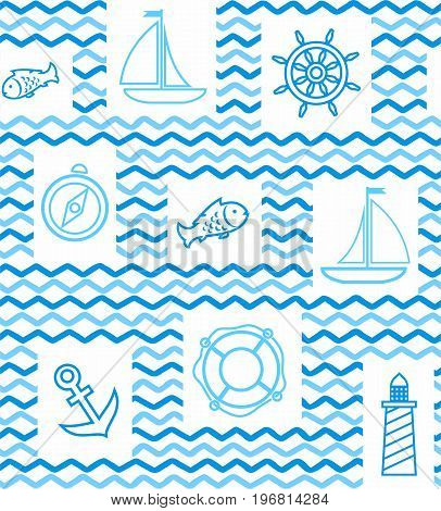 Nautical background, seamless, wave, zigzag, contour drawing, blue and white. Blue line drawings of the attributes of sea travel. Vector white background.