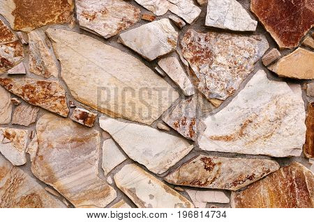 Close up background of the faux lava rock stone siding of a building from the 1970's.