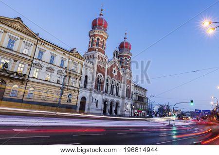 Great Synagogue in Pilsen. Pilsen Bohemia Czech Republic.