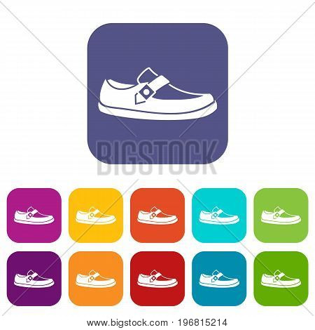 Men moccasin icons set vector illustration in flat style in colors red, blue, green, and other