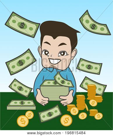 a rich boy with his money , saving money boy
