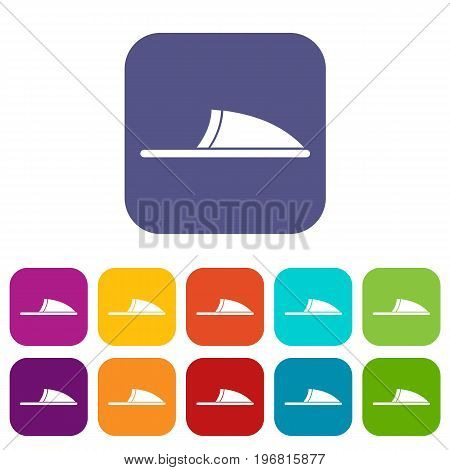 Slippers icons set vector illustration in flat style in colors red, blue, green, and other