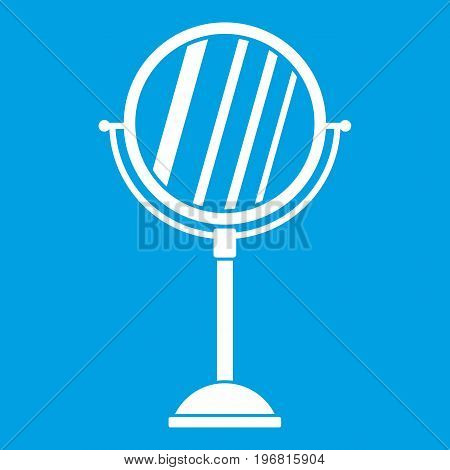 Makeup mirror icon white isolated on blue background vector illustration