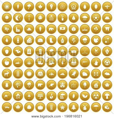 100 leaf icons set in gold circle isolated on white vector illustration