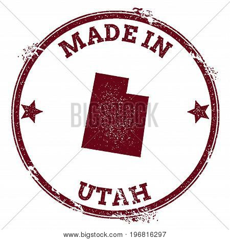 Utah Vector Seal. Vintage Usa State Map Stamp. Grunge Rubber Stamp With Made In Utah Text And Usa St