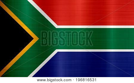 Flag of South Africa metallic  texture illustration  national