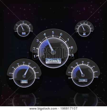Speedometer interface set isolated on black background with different sizes glowing elements vector illustration