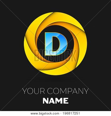 Realistic Letter D vector logo symbol in the colorful circle on black background. Vector template for your design