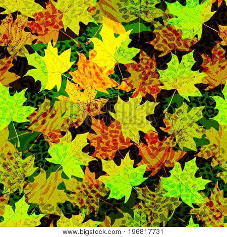 Beautiful seamless vector pattern background with autumn leaves and animal prints.Perfect for wallpapers, web page backgrounds, surface textures, textile