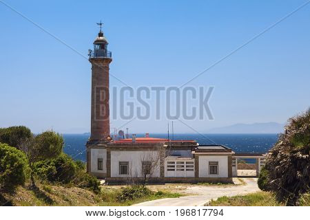 Punta Carnero Lighthouse and African shore. Algeciras Andalusia Spain.