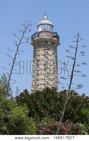 Punta Doncella Lighthouse in Estepona. Estepona Andalusia Spain.