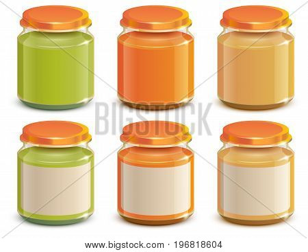 Set Baby food puree jar template mockup design. Isolated on white vector illustration