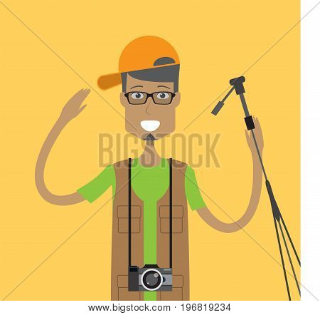 Photographer Character Male | set of vector character illustration use for human, profession, business, marketing and much more.The set can be used for several purposes like: websites, print templates, presentation templates, and promotional materials.