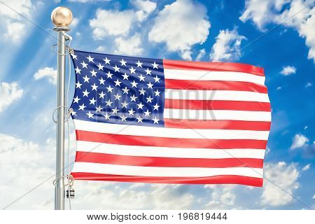 USA flag waving in blue cloudy sky 3D rendering