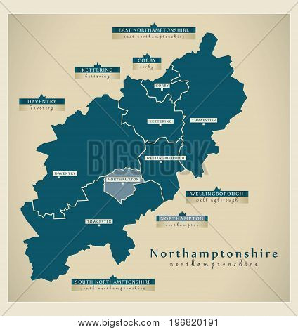 Modern Map - Northamptonshire County With District Labels England Uk Illustration