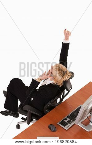 Business Woman In The Winning Mood, White Background, Color Image