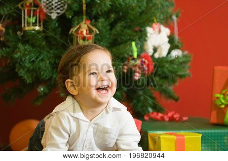 Christmas Baby Boy At Home, Color Image, Smiling Little Boy