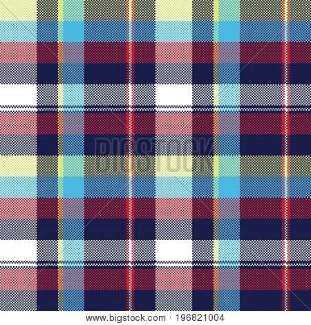 Blue check pixel fabric texture seamless pattern. Vector illustration.