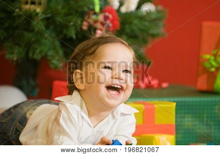 Cute Christmas Baby At Home, Color Image, Smiling Little Boy