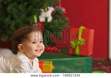 Smiling Christmas Baby color image smiling little boy