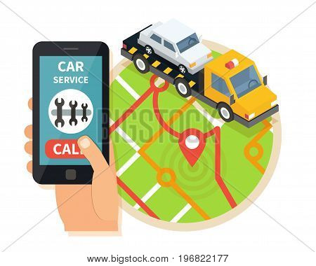 Evacuation service transport. Car assistance help isometric vector