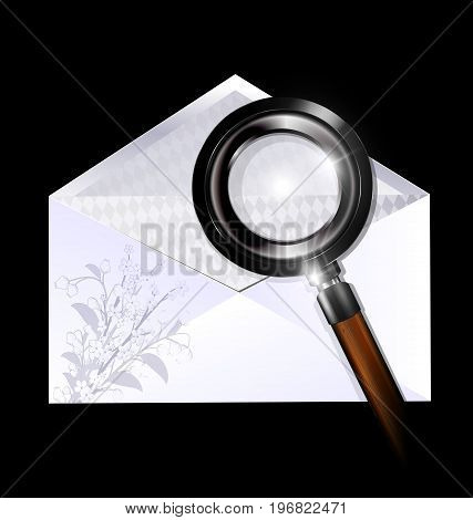 dark background, white open empty envelope with floral pattern and black magnifying glass