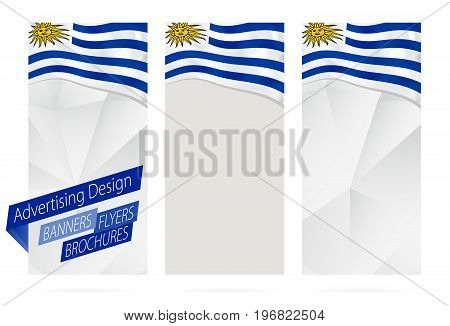 Design Of Banners, Flyers, Brochures With Flag Of Uruguay.