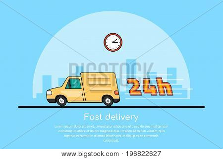 picture of a moving car with clock icon and big city sillhouette on background, delivery service concept, flat line art style illustration