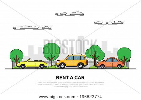 picture of three cars on the roar with big city sillhouette on background, flat style illustration, rent a car concept