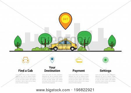 infographic template with taxi car and big city silhouette on background, taxi service concept, flat style illustration