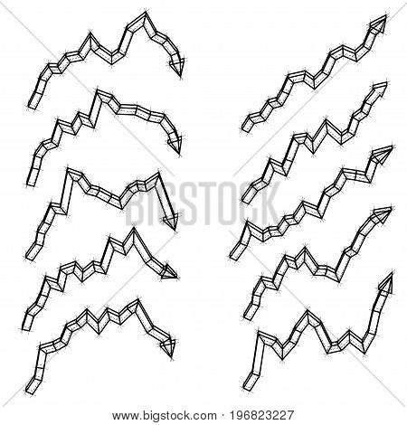 Set of arrows vector illustration. Wire-frame style