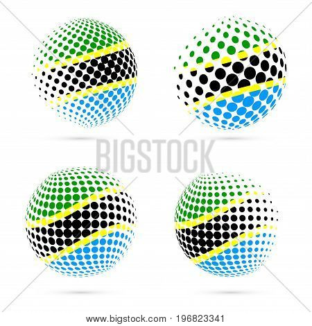 Tanzania Halftone Flag Set Patriotic Vector Design. 3D Halftone Sphere In Tanzania National Flag Col
