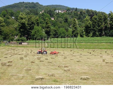 Bale Of Hay On A Field At Magliaso