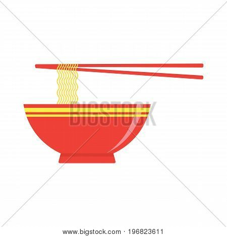 Instant noodles in the bowl with chopstick ready to eat. Vector illustration.