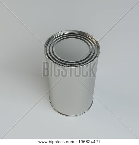 Metal tin can on gray background. 3d illustration. Top view
