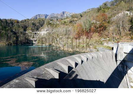 Palagnedra, Switzerland - 14 April 2014: The barrage lake of Palagnedra on Centovalli valley Switzerland
